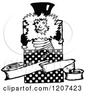 Clipart Of A Vintage Black And White Jack In The Box And Banner Royalty Free Vector Illustration