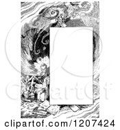 Clipart Of A Vintage Black And White Imaginative Reading Border Royalty Free Vector Illustration