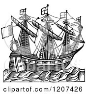 Clipart Of A Vintage Black And White Elizabethan Ship Royalty Free Vector Illustration