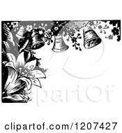Clipart Of A Vintage Black And White Lily And Bell Border Royalty Free Vector Illustration by Prawny Vintage