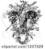 Clipart Of A Vintage Black And White Flower Basket Royalty Free Vector Illustration