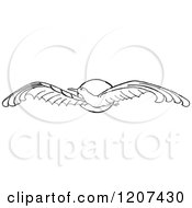 Clipart Of A Vintage Black And White Flying Seagull And Sun Royalty Free Vector Illustration