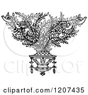 Clipart Of A Vintage Black And White Shrub With Birds Royalty Free Vector Illustration