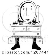 Clipart Of A Vintage Black And White Mirror With A Face Royalty Free Vector Illustration