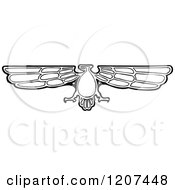 Clipart Of A Vintage Black And White Falcon Royalty Free Vector Illustration