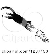 Clipart Of A Vintage Black And White Cat Chasing A Rabbit Royalty Free Vector Illustration