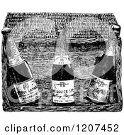 Clipart Of A Vintage Black And White Champagne Basket Royalty Free Vector Illustration by Prawny Vintage