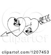 Vintage Black And White Cupids Arrow Through A Couple In Hearts