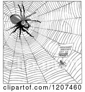 Clipart Of A Vintage Black And White Fly And Spider Having Peace Talks Royalty Free Vector Illustration by Prawny Vintage