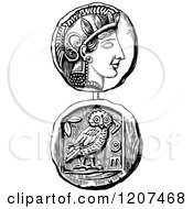 Clipart Of A Vintage Black And White Coin Of Athens Royalty Free Vector Illustration