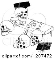 Poster, Art Print Of Vintage Black And White Diploma And Post Graduate Skulls