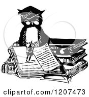 Clipart Of A Vintage Black And White Professor Owl Writing In A Book Royalty Free Vector Illustration