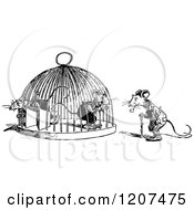 Clipart Of A Vintage Black And White Mouse Trap Royalty Free Vector Illustration by Prawny Vintage