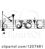Clipart Of Vintage Black And White Instruments Spelling Music Royalty Free Vector Illustration by Prawny Vintage