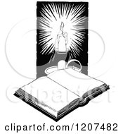 Clipart Of A Vintage Black And White Open Book And Candle Royalty Free Vector Illustration