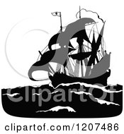 Vintage Black And White Silhouetted Pirate Ship