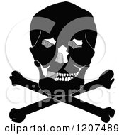 Clipart Of A Vintage Black And White Skull Resting On Crossbones Royalty Free Vector Illustration by Prawny Vintage
