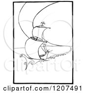 Clipart Of A Vintage Black And White Sailing Boat Royalty Free Vector Illustration