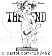 Vintage Black And White Graduate Baby And The End Text