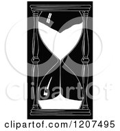 Clipart Of A Vintage Black And White Hourglass Timer Royalty Free Vector Illustration