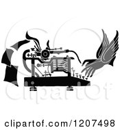 Vintage Black And White Pair Of Hands Working A Typewriter
