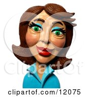 Clay Sculpture Clipart Brunette Woman Royalty Free 3d Illustration