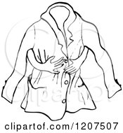 Clipart Of A Vintage Black And White Jacket And Arms Royalty Free Vector Illustration