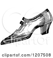 Clipart Of A Vintage Black And White Pointy Ladies Shoe Royalty Free Vector Illustration by Prawny Vintage