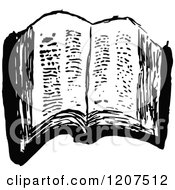 Clipart Of A Vintage Black And White Ragged Old Book Royalty Free Vector Illustration