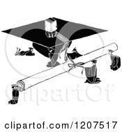 Vintage Black And White Giant Diploma And Graduation Cap With Graduates