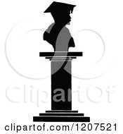 Clipart Of A Vintage Black And White Doctores Statue Royalty Free Vector Illustration