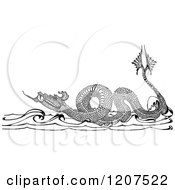 Clipart Of A Vintage Black And White Sea Dragon Royalty Free Vector Illustration