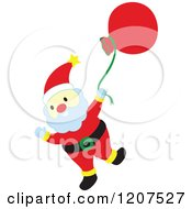Cartoon Of Santa Waving And Swinging His Sack Royalty Free Vector Clipart by Cherie Reve
