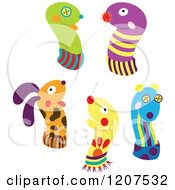 Cartoon Of Animal Sock Puppets Royalty Free Vector Clipart