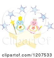 Cartoon Of A King And Queen Penguin With Blue Stars Royalty Free Vector Clipart by Cherie Reve