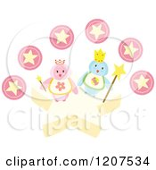 Cartoon Of A King And Queen Penguin With Pink Stars Royalty Free Vector Clipart by Cherie Reve