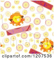 Cartoon Of A Seamless Sun And Its Show Time Pattern Royalty Free Vector Clipart by Cherie Reve