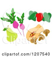 Cartoon Of A Pear Radishes Bell Peppers Mushrooms And Papaya Royalty Free Vector Clipart by bpearth