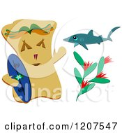 Cartoon Of A Surfer Tiki Shark And Tropical Plant Royalty Free Vector Clipart