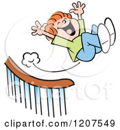 Cartoon Of A Happy Boy Sliding Down And Flying Off A Banister Royalty Free Vector Clipart by Johnny Sajem