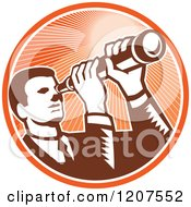 Clipart Of A Retro Woodut Businessman Looking Through A Telescope In An Orange Ray Circle Royalty Free Vector Illustration by patrimonio