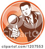 Clipart Of A Retro Woodut Businessman Inspecting With A Magnifying Glass In An Orange Circle Royalty Free Vector Illustration