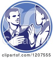 Clipart Of A Retro Woodut Businessman And Woman Talking In A Blue Circle Royalty Free Vector Illustration