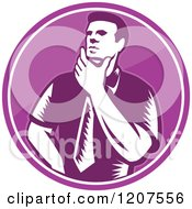 Clipart Of A Retro Woodut Businessman Thinking In A Purple Circle Royalty Free Vector Illustration