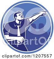 Clipart Of A Retro Woodut Businessman Pointing Forward In A Blue Circle Royalty Free Vector Illustration