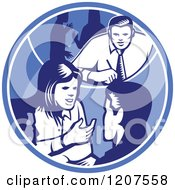 Clipart Of Retro Woodut Business People Talking In A Blue Circle Royalty Free Vector Illustration