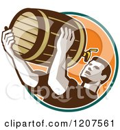 Clipart Of A Retro Man Drinking Beer From The Keg Royalty Free Vector Illustration