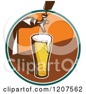 Clipart Of A Retro Glass Of Beer Under A Keg Nozzle Royalty Free Vector Illustration