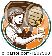 Clipart Of A Retro Female Bartender Pouring Beer From A Keg Royalty Free Vector Illustration