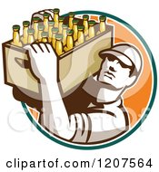 Clipart Of A Retro Worker Carrying A Case Of Beer Bottles Royalty Free Vector Illustration
